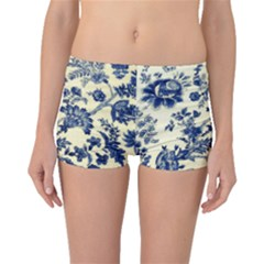 Vintage Blue Drawings On Fabric Boyleg Bikini Bottoms