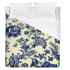 Vintage Blue Drawings On Fabric Duvet Cover (queen Size)