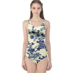 Vintage Blue Drawings On Fabric One Piece Swimsuit