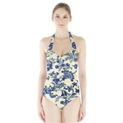 Vintage Blue Drawings On Fabric Halter Swimsuit