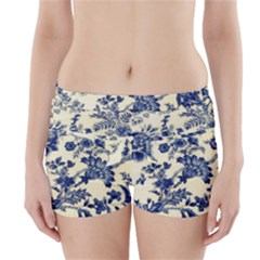 Vintage Blue Drawings On Fabric Boyleg Bikini Wrap Bottoms