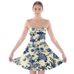 Vintage Blue Drawings On Fabric Strapless Bra Top Dress