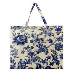 Vintage Blue Drawings On Fabric Zipper Large Tote Bag