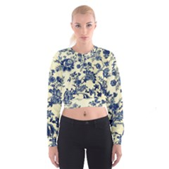 Vintage Blue Drawings On Fabric Women s Cropped Sweatshirt
