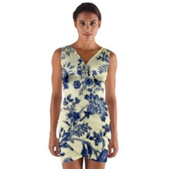 Vintage Blue Drawings On Fabric Wrap Front Bodycon Dress