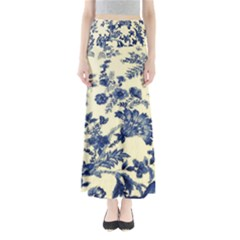 Vintage Blue Drawings On Fabric Maxi Skirts