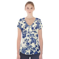 Vintage Blue Drawings On Fabric Short Sleeve Front Detail Top