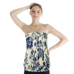 Vintage Blue Drawings On Fabric Strapless Top