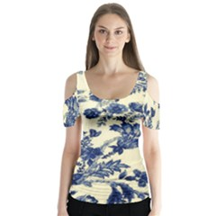 Vintage Blue Drawings On Fabric Butterfly Sleeve Cutout Tee