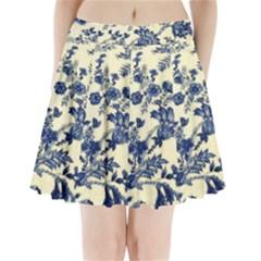 Vintage Blue Drawings On Fabric Pleated Mini Skirt