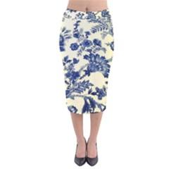 Vintage Blue Drawings On Fabric Velvet Midi Pencil Skirt