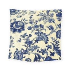 Vintage Blue Drawings On Fabric Square Tapestry (small)