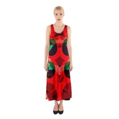 Abstract Digital Design Sleeveless Maxi Dress