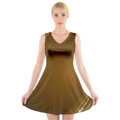 Abstract Background V Neck Sleeveless Skater Dress