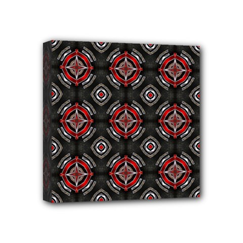 Abstract Black And Red Pattern Mini Canvas 4  X 4