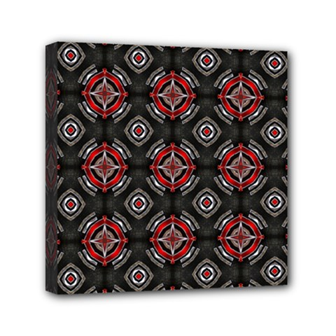 Abstract Black And Red Pattern Mini Canvas 6  X 6