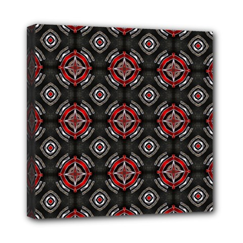 Abstract Black And Red Pattern Mini Canvas 8  X 8