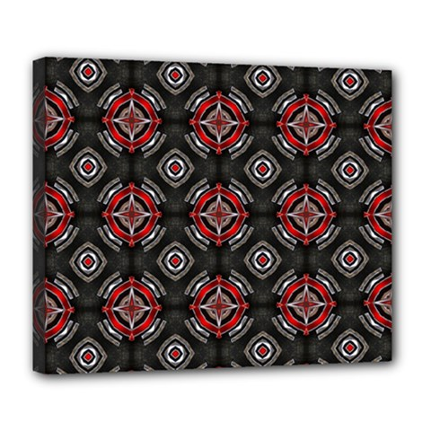 Abstract Black And Red Pattern Deluxe Canvas 24  X 20