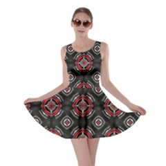 Abstract Black And Red Pattern Skater Dress