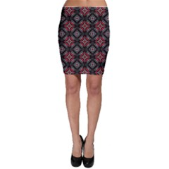 Abstract Black And Red Pattern Bodycon Skirt
