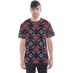 Abstract Black And Red Pattern Men s Sport Mesh Tee