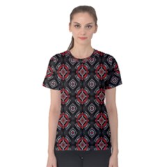Abstract Black And Red Pattern Women s Cotton Tee