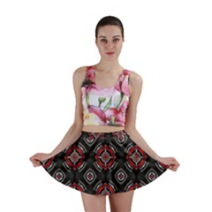 Abstract Black And Red Pattern Mini Skirt