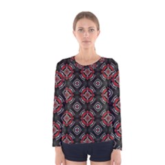 Abstract Black And Red Pattern Women s Long Sleeve Tee