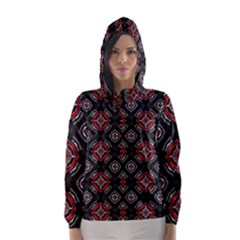 Abstract Black And Red Pattern Hooded Wind Breaker (Women)
