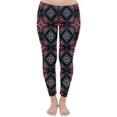 Abstract Black And Red Pattern Classic Winter Leggings