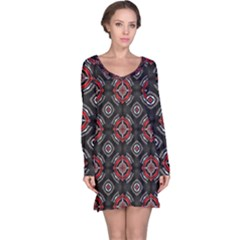 Abstract Black And Red Pattern Long Sleeve Nightdress
