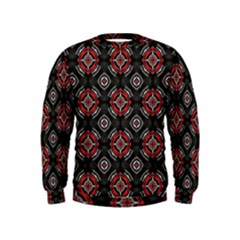 Abstract Black And Red Pattern Kids  Sweatshirt