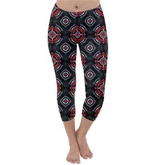 Abstract Black And Red Pattern Capri Winter Leggings