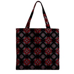 Abstract Black And Red Pattern Zipper Grocery Tote Bag
