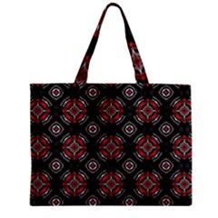 Abstract Black And Red Pattern Zipper Mini Tote Bag