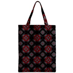 Abstract Black And Red Pattern Zipper Classic Tote Bag