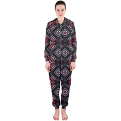 Abstract Black And Red Pattern Hooded Jumpsuit (ladies)