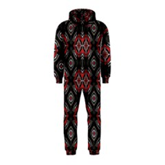 Abstract Black And Red Pattern Hooded Jumpsuit (kids)