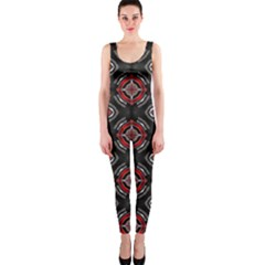 Abstract Black And Red Pattern Onepiece Catsuit
