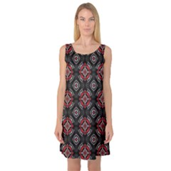 Abstract Black And Red Pattern Sleeveless Satin Nightdress