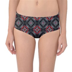 Abstract Black And Red Pattern Mid Waist Bikini Bottoms