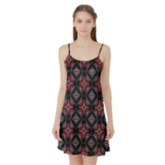 Abstract Black And Red Pattern Satin Night Slip