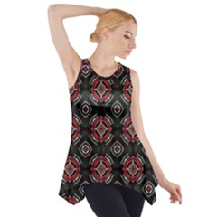Abstract Black And Red Pattern Side Drop Tank Tunic
