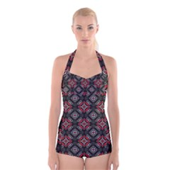Abstract Black And Red Pattern Boyleg Halter Swimsuit