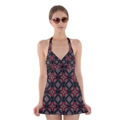 Abstract Black And Red Pattern Halter Swimsuit Dress