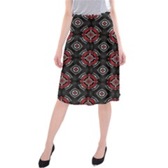 Abstract Black And Red Pattern Midi Beach Skirt