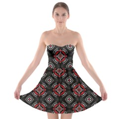 Abstract Black And Red Pattern Strapless Bra Top Dress