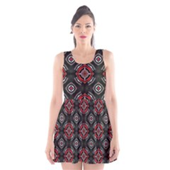 Abstract Black And Red Pattern Scoop Neck Skater Dress