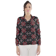 Abstract Black And Red Pattern Wind Breaker (women)