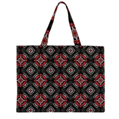 Abstract Black And Red Pattern Large Tote Bag